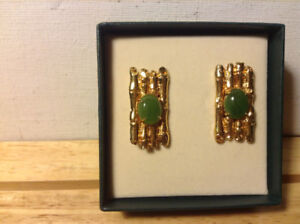 Vintage Men Cufflinks Jade Stone