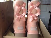 LADIES REAL UGG BABY PINK TWO BOW BOOTS