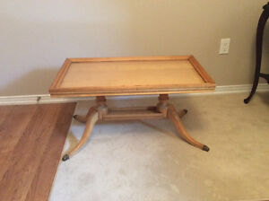 Table with glass top serving tray $40.00