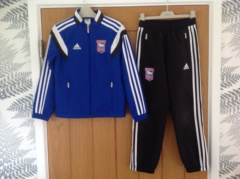 c70debe655be Ipswich Town Football Club ITFC Adidas Tracksuit Top Jacket   Bottoms  Trousers Size Small Youth Kids