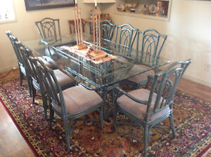 Glass and rutan dining set priced to sell