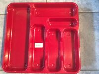 Red cutlery tray
