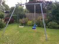 TP metal double swing frame plus swing and skyride
