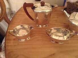 Art Deco Silver plated Tea Set - with Georgian Decanter