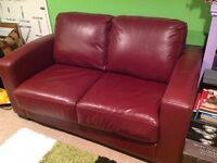 Sofa bed Real Leather with single mattress. VGC.