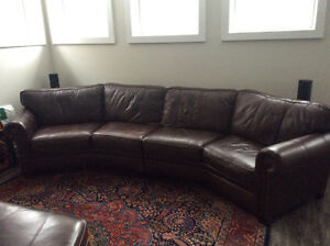 Genuine Buttery Brown Leather Sectional Couch - Negotiable