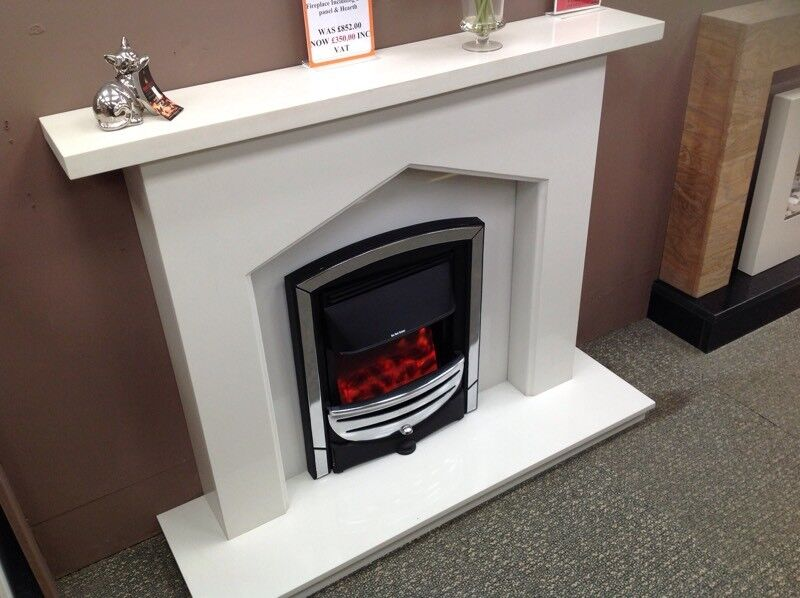 Complete Polar White Fireplace