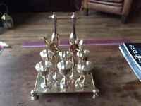 6 Silver Plated Egg Cups and Spoons