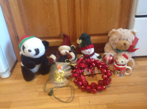 Several Christmas Teddy Bears, bell wreath & much more