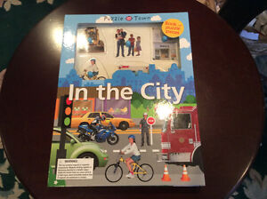 Quality Puzzle Town Wood Puzzle and Hardcover Book Boxed Set