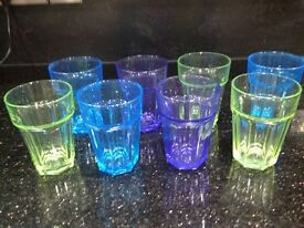 Eight water glasses
