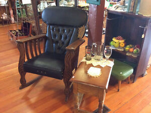 Antique Carved Oak / Leather Rocker Rocking Chair