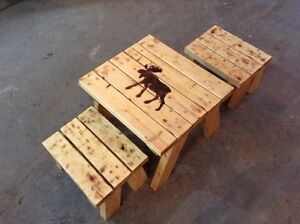Hand made wooden table and chair set