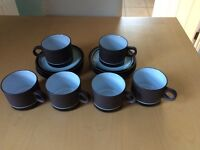 1970's Denby Brown rimmed cups, saucers and serving dishes