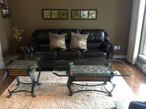 Glass coffee table and end table