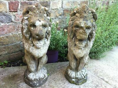 BEAUTIFUL, PAIR OF FRENCH ANTIQUE GARDEN  LIONS