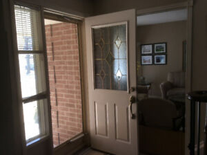 Steel entry door with decorative lite and hardware