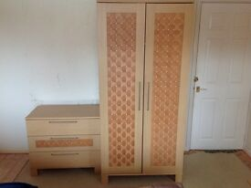 MATCHING WARDROBE AND CHEST OF DRAWERS