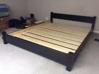 IKEA King Size Solid Wood Bed Frame + Premium Range Memory Foam Mattress