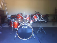 Pacific Drums by DW X7 shell pack, maple, orange sparkle