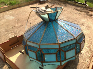 Blue hanging stained glass lamp