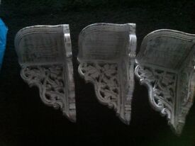 Three wall sconce shelves good condition