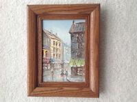 SMALL OIL PAINTING OF A CITY STREET SCENE