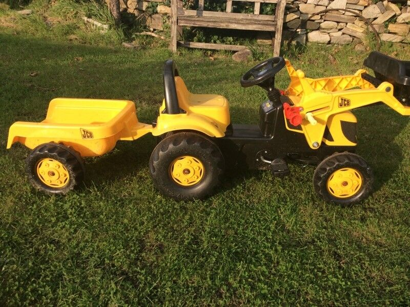 Kids JCB ride on pedal digger and trailer