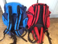 2 BACK PACK HIKING BAGS RED OR BLUE