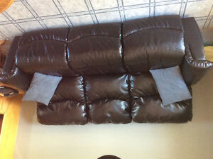 Power-recline Black Leather Couch