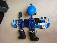 Boys snowboard and accessories