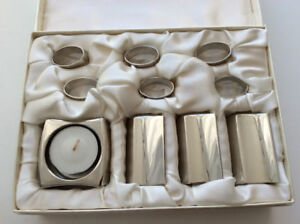 Designer salt pepper sugar napkin rings candle holder set