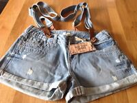 Denim Shorts with Braces - Size 8 - New with Tags