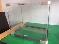 Glass fish tank, aquarium.