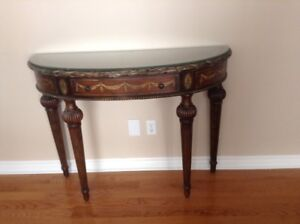 Half moon Hallway table - Ornate with Paint detail