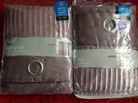 Brand new two pairs of tab top pleated faux silk fully lined curtains in heather