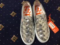 SUPERDRY, NEW, SIZE 6 SILVER SEQUIN LOAFERS