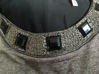 Glitzy Silver Top with Beaded Neckline, Split-back with Sheer Black panel insert - Uk size 28