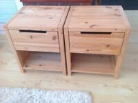 Bedroom furniture. 2 Pine bedside cupboards, each with a deep drawer and shelf. VGC.