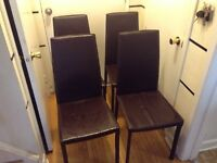 4 leather kitchen chairs(need new uphostelry)