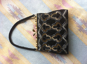 New vintage handmade black beaded clutch or evening purse