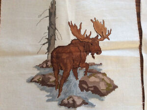 Cross-stitched moose and deer