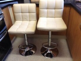 Pair of Cream Leather Adjustable Kitchen/Bar Stools