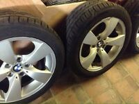"4 X original bmw 17"" alloys with near new tyres (225 50 17)"