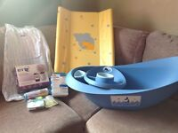 Baby bath, changer, sterilising bags, monitor etc