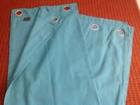 Teal Ring Top Curtain, in good condition