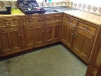Old pine kitchen units wall cupboard & Dresser style wall unit.