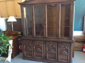 Solid Wood Dining Room Hutch with Interior Light