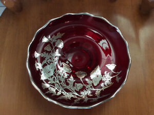"Vintage 8""ruby red glass footed dish with silver overlay-REDUCED"