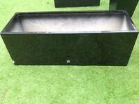Large 1.15m long black gloss fibreglass trough planter